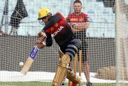 Shubman Gill bats in the nets