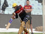 Shubman Gill bats in the nets