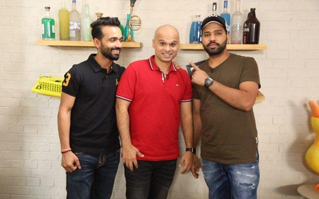 Ajinkya Rahane and Rohit Sharma with Vikram Sathaye