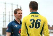 Australian Captain Tim Paine and England Captain Eoin Morgan