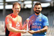 England captain Eoin Morgan and India captain Virat Kohli hold the series trophy