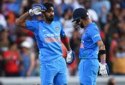 KL Rahul of India celebrates with Virat Kohli
