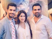 Zaheer Khan with Sagarika Ghatge and Angad Bedi
