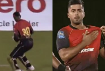 Keeper Denesh Ramdin drops the catch; bowler Ali Khan unknowingly celebrates