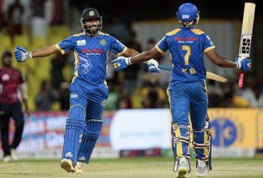 Abhishek Tanwar and Arun Karthik celebrate their win