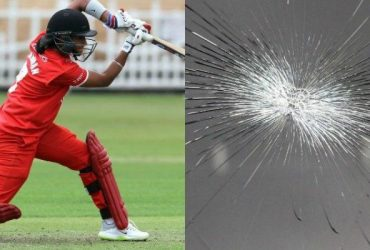 Harmanpreet Kaur breaks the glass of a car during Kia Super League