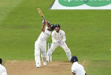 Rishabh Pant hits his second ball in Test cricket for 6 runs