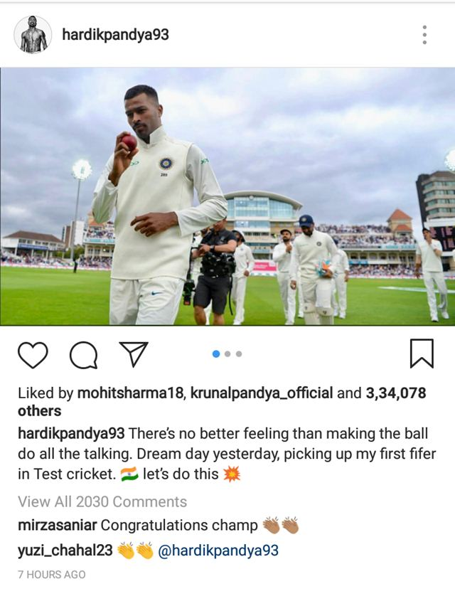 Sania Mirza comment on Pandya's post