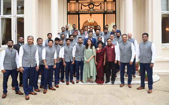 Team India members at the High Commission of India in London