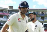 Alastair Cook of England shakes hands with Virat Kohli of India