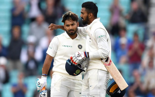 Rishabh Pant of India celebrates with Lokesh Rahul (Photo by Gareth Copley/Getty Images)