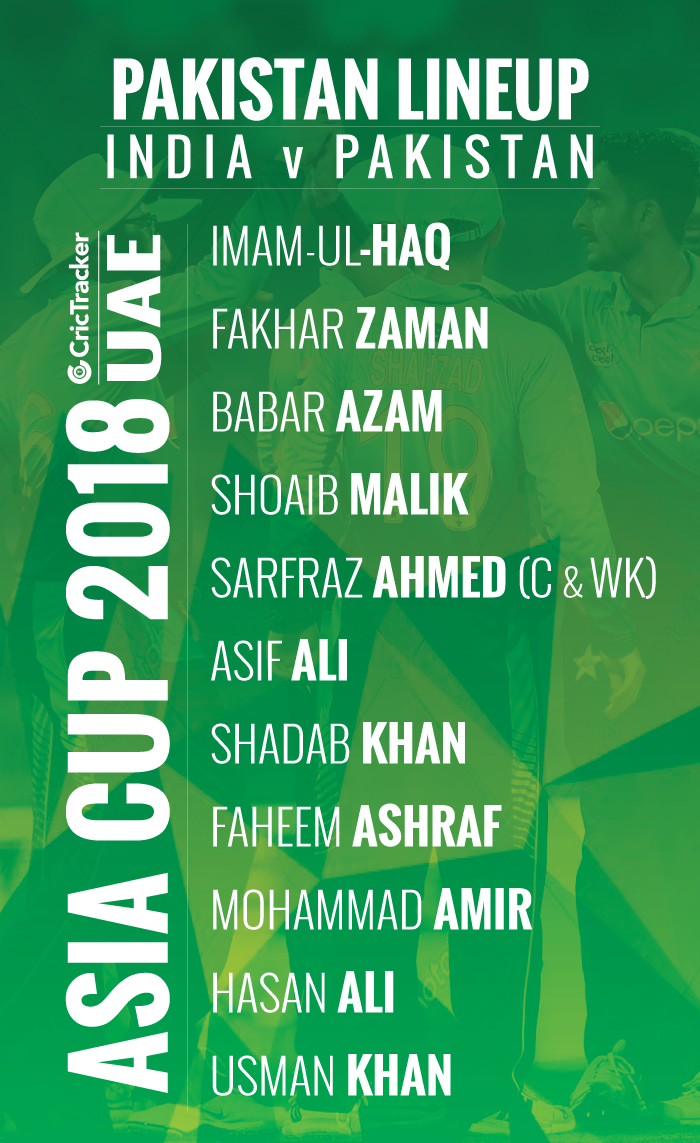 PLAYING XI-PAKISTAN-FOR-ASIA-CUP-2018-MATCH-BETWEEN-PAKISTAN-VS-INDIA