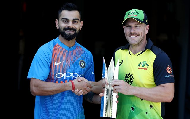 Virat Kohli of India and Aaron Finch of Australia
