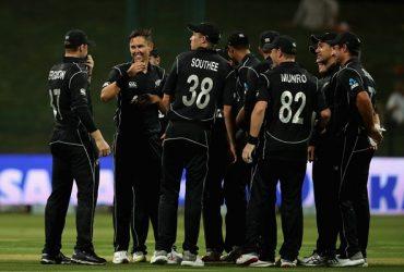Trent Bolt of New Zealand celebrates his hat-trick