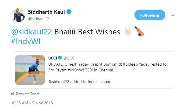 Siddarth Kaul's tweet