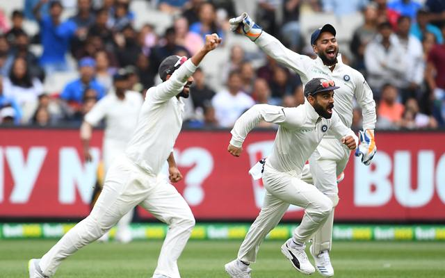 Virat Kohli and his Indian teammates celebrate