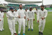 Virat Kohli and the Indian cricket team celebrate winning the series