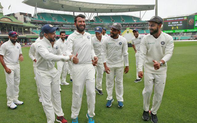 Virat Kohli and the Indian cricket team celebrate winning the series