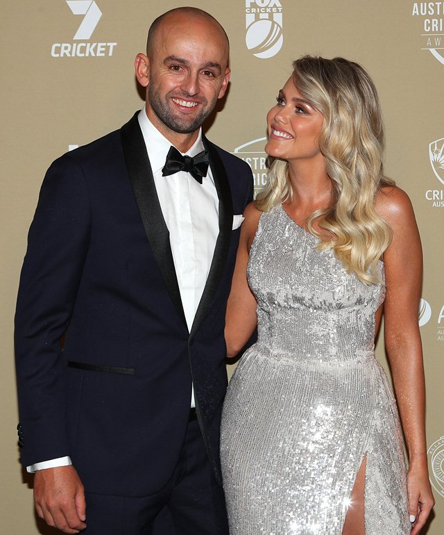 Nathan Lyon with his girlfriend