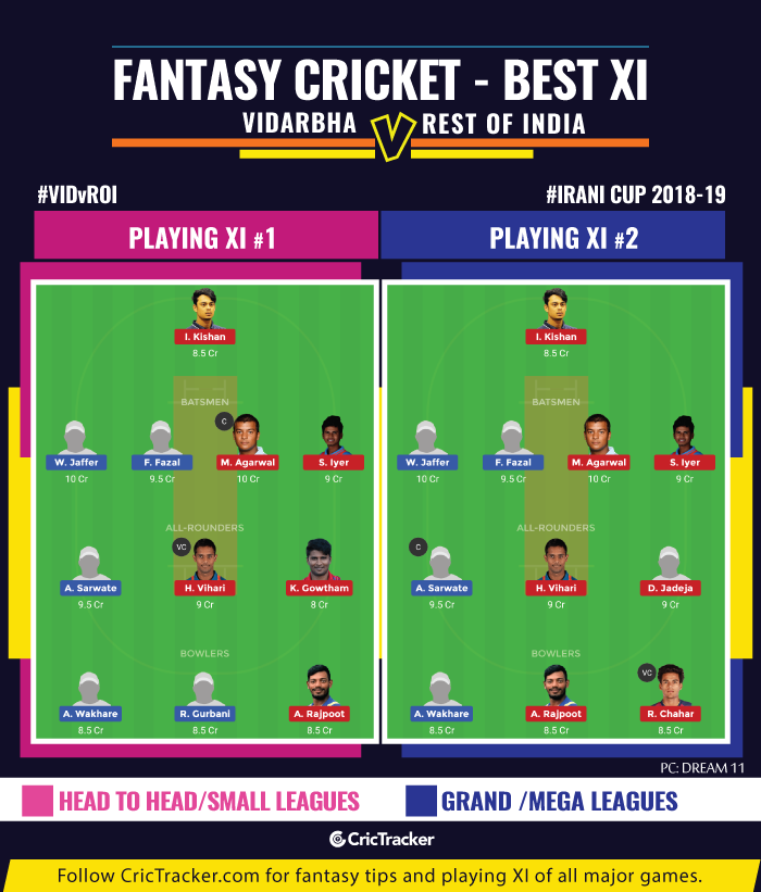 fantasy-Tips-Vidarbha-vs-Rest-of-India-Irani-Cup-2018-19