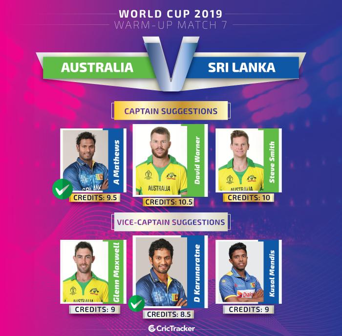ICC-World-Cup-2019-Warm-up-Match--Australia-vs-Sri-Lanka-Captain-and-vice-captain-for-Dream11-Fantasy