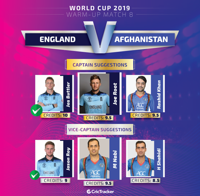 ICC-World-Cup-2019-Warm-up-Match--England-vs-Afghanistan-Captain-and-vice-captain-for-Dream11-Fantasy