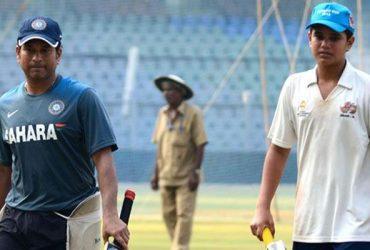 Sachin Tendulkar and his son Arjun Tendulkar