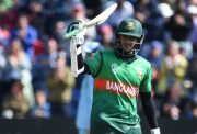 Bangladesh's Shakib Al Hasan celebrates after scoring a century (100 runs) during the 2019 Cricket World Cup group stage match between England and Bangladesh at Sophia Gardens stadium in Cardiff, south Wales, on June 8, 2019. (Photo by Paul ELLIS / AFP) / RESTRICTED TO EDITORIAL USE (Photo credit should read PAUL ELLIS/AFP/Getty Images)