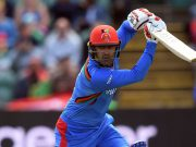 TAUNTON, ENGLAND - JUNE 08: Mohammad Nabi of Afghanistan bats during the Group Stage match of the ICC Cricket World Cup 2019 between Afghanistan and New Zealand at The County Ground on June 08, 2019 in Taunton, England. (Photo by Alex Davidson/Getty Images)