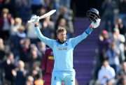 SOUTHAMPTON, ENGLAND - JUNE 14: Joe Root of England celebrates reaching his century during the Group Stage match of the ICC Cricket World Cup 2019 between England and West Indies at The Hampshire Bowl on June 14, 2019 in Southampton, England. (Photo by Alex Davidson/Getty Images)