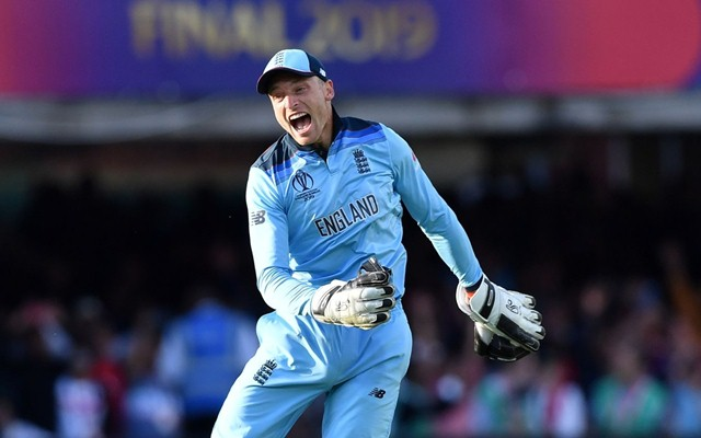 England's Jos Buttler celebrates with teammates after they won the super over to win the 2019 Cricket World Cup final between England and New Zealand at Lord's Cricket Ground in London on July 14, 2019. (Photo by Paul ELLIS / AFP) / RESTRICTED TO EDITORIAL USE (Photo credit should read PAUL ELLIS/AFP/Getty Images)