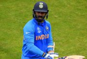 BIRMINGHAM, ENGLAND - JULY 02: Dinesh Karthik of India walks off after being dismissed by Mustafizur Rahman of Bangladesh during the Group Stage match of the ICC Cricket World Cup 2019 between Bangladesh and India at Edgbaston on July 02, 2019 in Birmingham, England. (Photo by Clive Mason/Getty Images)