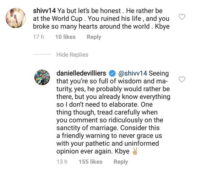 Danielle de Villiers' reply