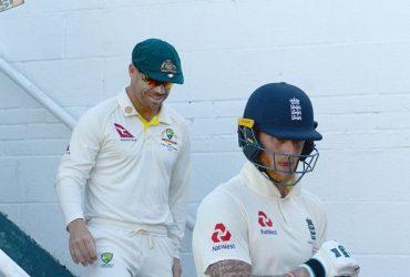 Ben Stokes of England and David Warner of Australia