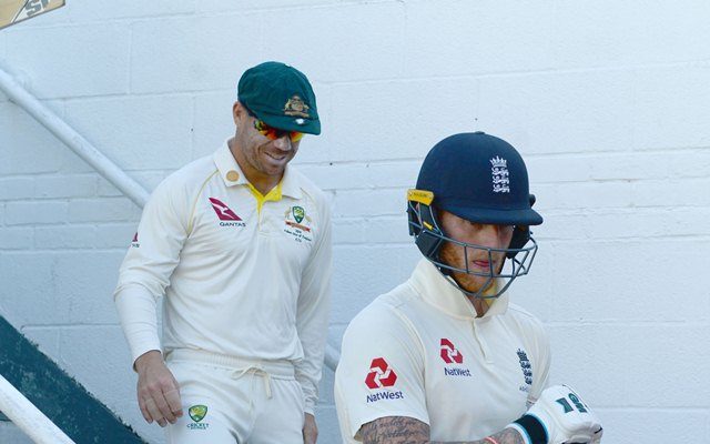 Ben Stokes of England and David Warner of Australia