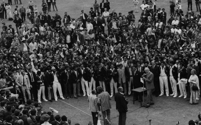 The ceremony following India's Test series victory at the Oval
