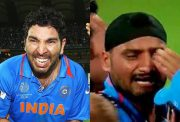 Yuvraj and Harbhajan after winning the WC in 2011