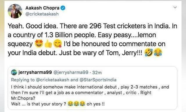 Aakash Chopra's reply to a twitterati
