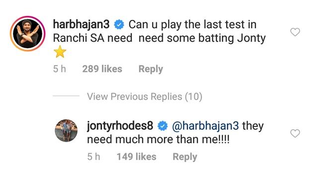Harbhajan Singh's comment & Jonty Rhodes reply