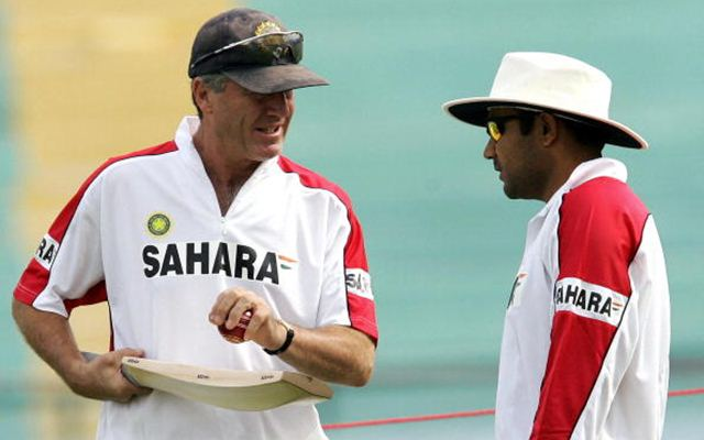 John Wright and Virender Sehwag