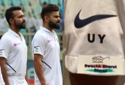 Sticker on India's jersey