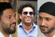 Yuvraj Singh, Sachin Tendulkar and Harbhajan Singh