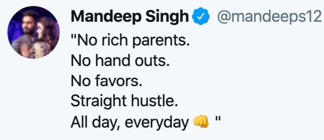 Mandeep Singh's tweet