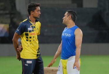R Sai Kishore and MS Dhoni IPL