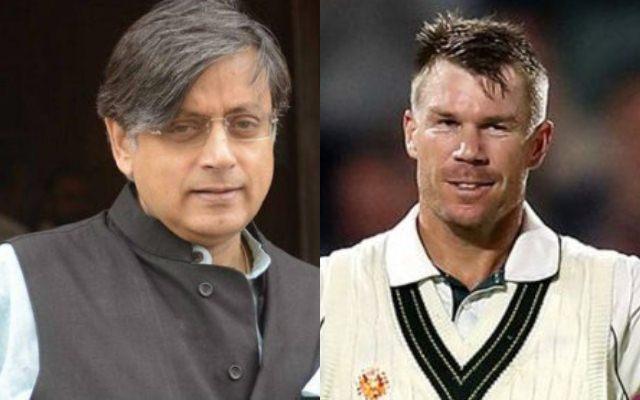 Shasi Tharoor and David Warner