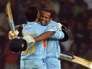 Yusuf Pathan celebrates with Irfan Pathan