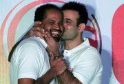Irfan Pathan kisses his brother Yusuf Pathan