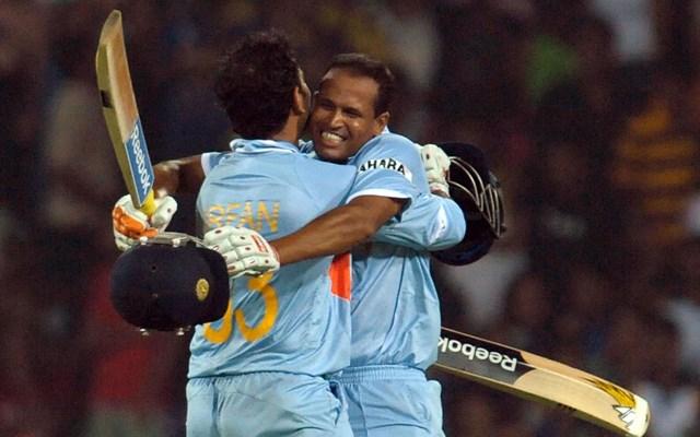 Yusuf Pathan celebrates with Irfan Pathan