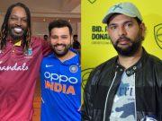 Chris Gayle, Rohit Sharma and Yuvraj Singh