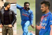 Harbhajan Singh, Kedar Jadhav and Yuzvendra Chahal